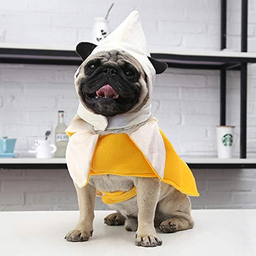 BeesClover Hunde-Kostüm, Bananen-Kostüm, süßes Hunde-Kleid, lustiges Halloween-Kostüm, Gelb, XL