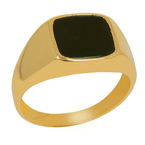 ISADY - Emilio Gold - Herren Ring Damen Ring Siegelring - 18 Karat (750) Gelbgold - Imit. Onyx Schwarz - T 70 (22.3)