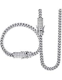 Davieslee 6 mm Femme Homme Ensemble de Bijoux Collier Bracelet Miami Franco  Box Link en Acier 31a720a46be