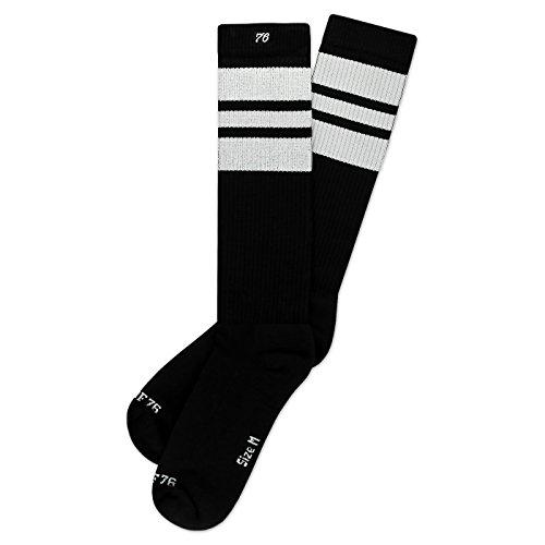 Spirit of 76 The white Whites | Retro Socken Schwarz, Weiß gestreift | kniehoch | Unisex Strümpfe Size M (39-42)