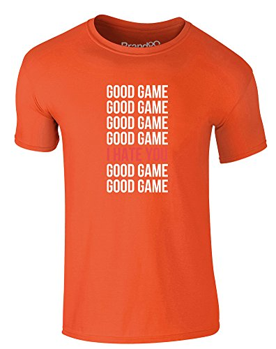 Brand88 - Good Game, Erwachsene Gedrucktes T-Shirt Orange/Weiß