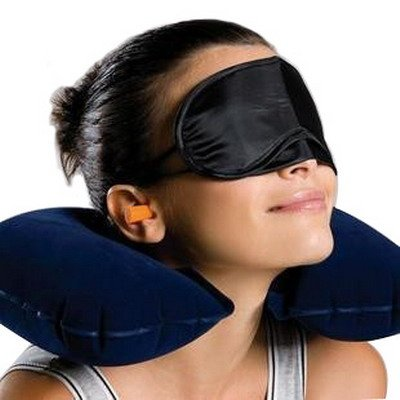 3 in 1 REISE-SET / Relaxing-Set / Travel-Set Kissen + Blinder + Ohrenstöpsel Nackenkissen & Schlafbrille & Ohrstöpsel ideal für Ihre Reise
