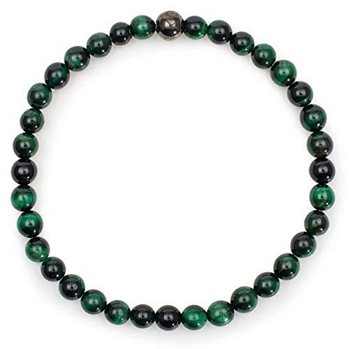 KOMIMAR dezentes Tigeraugen green Herren Armband - Männer Armband - Perlen Armband - Geschenkidee Weihnachten - green Tigereyes - Weihnachtsgeschenke - Armbänder für Männer