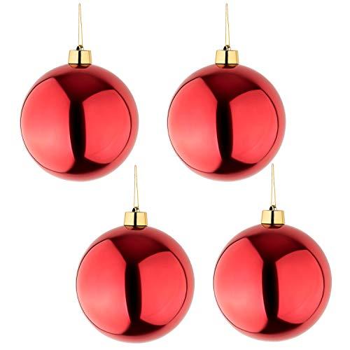 Palle Di Natale Grandi.Get2trade 4 Palle Di Natale Grandi Rosso Lucido Diametro 25 Cm Alta Qualita Per Interni E Resistente Alle Intemperie All Aperto Con Gancio E Nastro