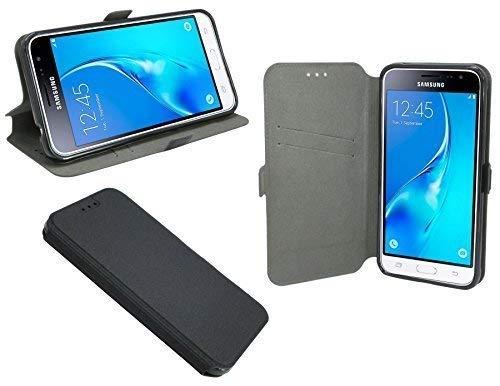 ENERGMiX Elegante Buch-Tasche für Das Samsung Galaxy J3 2016 (J320F) in Schwarz Leder-Optik Wallet Book-Style