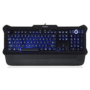 Perixx PX-1100 Beleuchtete Tastatur – USB-Kabel – Beleuchtung in 3 Farben – Helligkeitsregler – Lebensdauer 20 Mio Anschläge – QWERTZ – Gummierung schwarz
