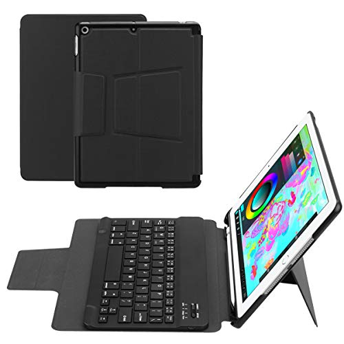 for ipad air 1/air 2 /pro 9.7 /ipad 9.7(2018/2017) Separable Tablet Keyboard Case Intelligent American Wireless Keyboard with Pen Holder (Black) (Wireless Keyboard American)