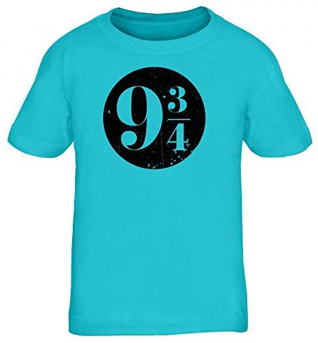 Fanartikel Fan Kult Film Kinder T-Shirt Rundhals Mädchen Jungen Kreis Harry 9 3/4, Größe: 152/164,Türkis
