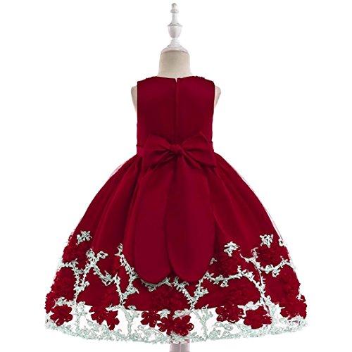 QinMM Blume Baby Mädchen Prinzessin Tutu Kleid Print Sleeveless Formale Kleidung Kleider Sommerkleid Cute Fashion Red 24M-7T (5T, Rot) (Red Tutu Kostüm Idee)