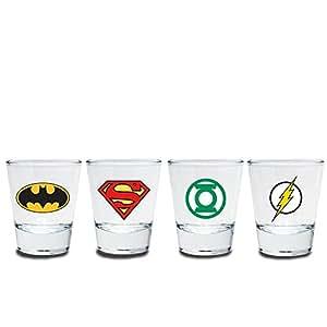 Justice League Bicchierini Set–Logo–Batman–Superman–Green Lantern–Flash–Confezione regalo