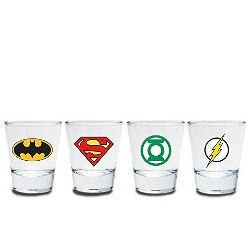 Batman Lantern Kostüm Green - Justice League - Schnapsgläser 4er Set - Logo - Batman - Superman - Green Lantern - Flash - Geschenkbox