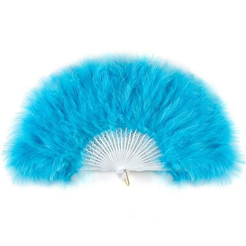 ArtiDeco Damen Fächer Marabou Feder 1920s Vintage Stil Retro Handfächer Damen Gatsby Kostüm Flapper Zubehör (See Blau) (Unter See Kostüm)