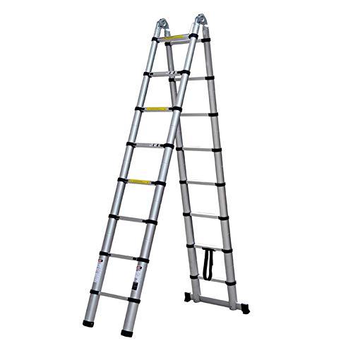 ZWYY Verlängerungsleitern, Aluminium-Teleskopleiter Multifunktions-A-Rahmen-Teleskopleiter für die Instandhaltung von Gebäuden, Fensterreinigung 1,9 m
