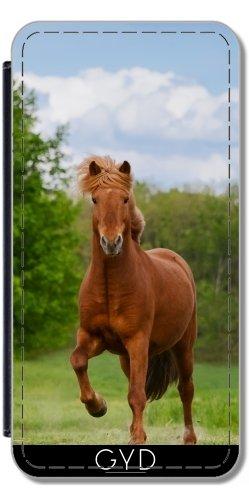 Leder Flip Case Tasche Hülle für Apple iPhone 5C - Isländisches Pony Pferd An Einem Tol by Katho Menden Lederoptik