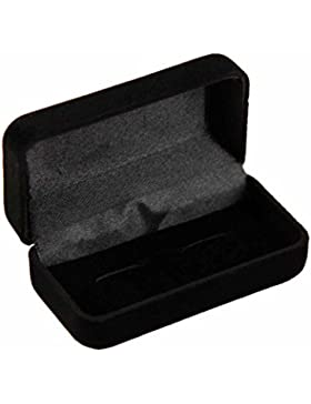Präsentationsbox für Manschettenknöpfe von Spitzenqualität, Schwarzer Samt 2, schwarz