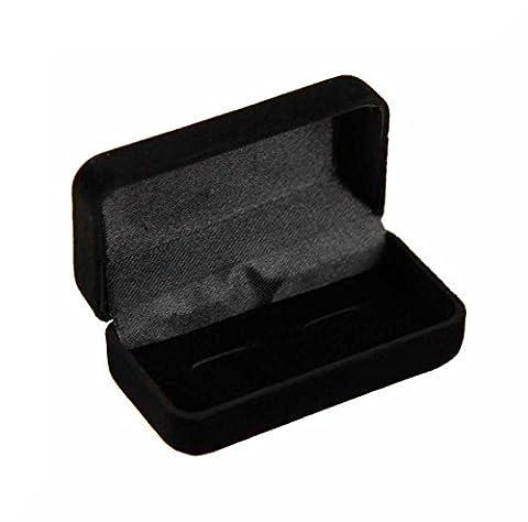 Premium Quality Cufflink Cuff link Presentation Box (Black Velvet