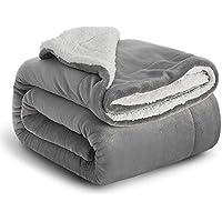 Bedsure Manta Reversible de Franela/Sherpa 150x200cm - Manta para Cama 90 de 100% Microfibra Extra Suave - Manta de Felpa Gris