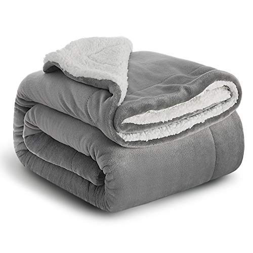 Bedsure coperta di pile sherpa per letto e divano grigio 150x200cm - plaid letto singolo coperte di sherpa e flanell microfibra morbida