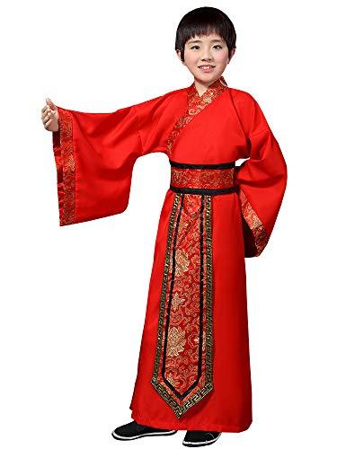 Martial Arts Kostüm - BOZEVON China Hanfu - Kinder Schwertkämpfer Kostüm Junge Martial Arts Drama Performance Kleidung,Rot,EU 130=Tag 140