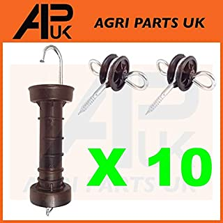 APUK 10 x Electric Fence Gate Handle & 20 x Insulators Kit Heavy Duty Pack Spring NEW