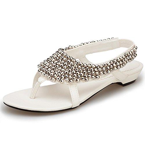 Large Size delle donne dei sandali Sandali Toe Flat Feet White