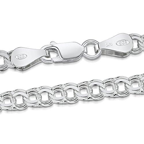 925 Sterlingsilber beschichtet Halskette Flachkette 2 mm verschiedene Länge