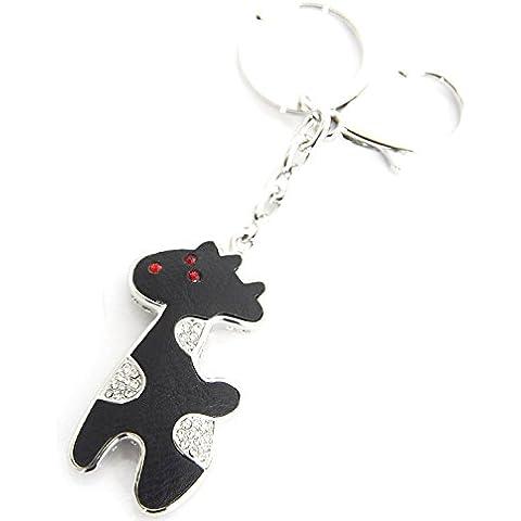 PT223-Llavero, diseño de joya de jirafa-Bolsa de piel sintética con tapa y función atril, color negro, diseño de fantasía