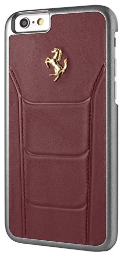 Ferrari FESEGHCP6BK Debossed Leder harte 488 Schutzhülle  mit Gold Logo für Apple iPhone 6/6S - 11,9 cm (4,7 Zoll) schwarz burgund