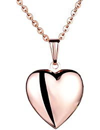 tumundo 2 Necklaces +2 Pieces Parts Pendant Set Heart I Love You Rhinestones Stainless Steel Chain for Couples 55cm