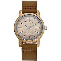 NICEWATCH Relojes, Amantes de los Hombres y de Las Mujeres, Movimiento de Japón, Reloj de Pulsera de bambú carbonizado, Dial, Correa de Cuero, Reloj de Cuarzo, Dinero de Las Mujeres