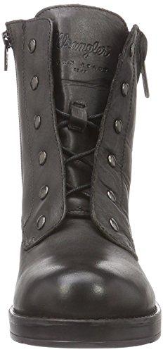 Wrangler Damen Fire Blind Leather Biker Boots Schwarz (62 Black)