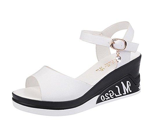 KUKI Frau Peep mit koreanischen wilden Bohemia Beach flache Schuhe, 1, US8/EU39/UK6/CN39