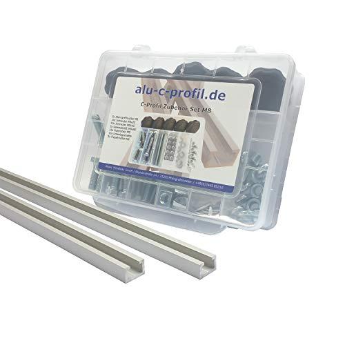 2 St. 1m C Profil M8 Aluminium T Nut Alu Profilschiene Zubehör Schrauben Set
