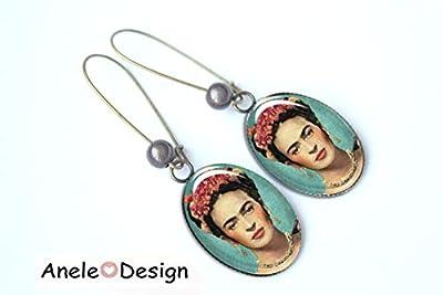 Boucles d'oreilles pendantes Frida Kahlo, surréalisme peinture tableau célèbre fleurs bleu rose, cabochon verre
