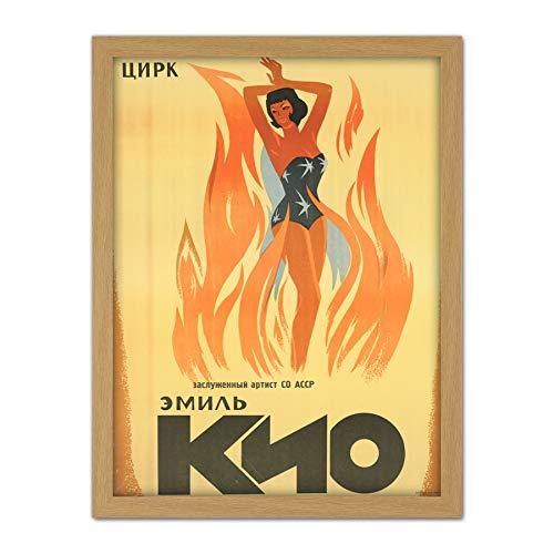 Emil Kio Circus Russia USSR Magic Fire Advert Large Framed Art Print Poster Wall Decor 18x24 in Zirkus Russland Sowjetunion Zauber Feuer Werbung Wand Deko -