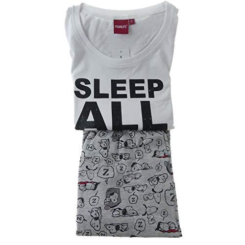 Schlafanzug Damen Langarm Pyjama Disney Peanuts Snoopy Baumwolle