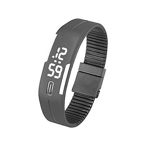 Silicone Montre - TOOGOO(R)Sports Caoutchouc Silicone Blanc LED Montre Digitale Bracelet Homme Femmes Noir