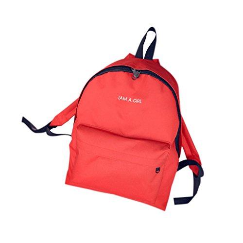 QHGstore Frauen-Mädchen-nette Reise-Schule-Beutel-Segeltuch-Rucksack-Schulter-Tasche Rot