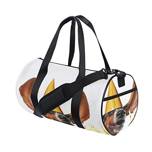 Happy Puppy Dog Kuchen Porträt Benutzerdefinierte Leichte Große Yoga Gym Totes Handtasche Reise Leinwand Seesäcke Mit Schulter Crossbody Fitness Sport Gepäck Für Mädchen Männer Frauen