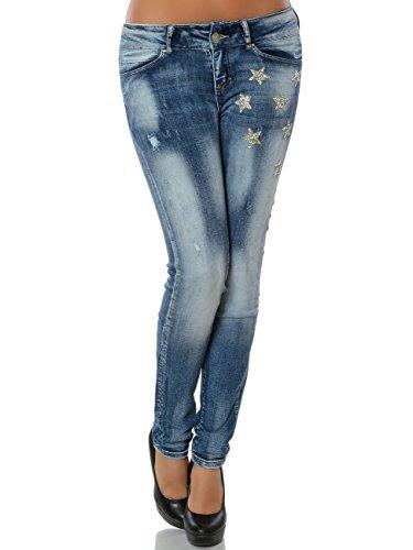 Damen Jeans Hose Skinny Röhre Denim No 15819 Blau