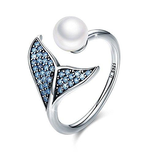 Forever queen anello di coda di sirena, s925 anello di dito regolabile coda di delfino argento per le donne anello aperto di ragazze con zircone blu e perla di conchiglia bj09067