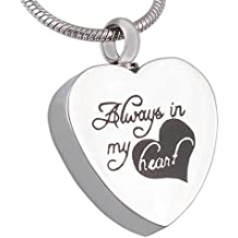 "Gnzoe Acero Inoxidable Cremación ""Always in my heart"" Rose Colgante de Urna Memorial Ash Collar"