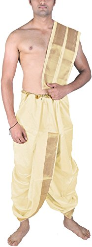 Exotic India Men's Dhoti and Angavastram Set with Wide Golden Border (Ready...