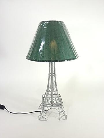 Tischleuchte mit Metallfuß als Eifelturm und Stoffschirm Tischlampe Leuchte Dekoleuchte
