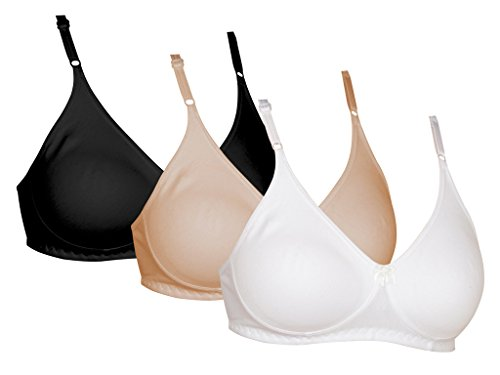 Softskin Women's Cotton Bra (Galaxy_Seamless-34B_White,Skin,Black34)