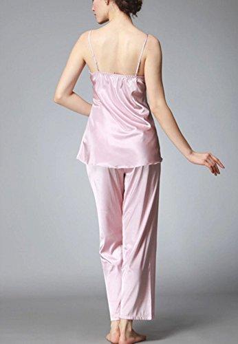 Soie Mme Spring Pantalons à Manches Longues Trois Pièces Pyjama pink