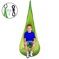 Sorbus Kids Child Pod Swing Chair Tent - Hanging Seat Hammock for Indoor and Outdoor Use (Green)
