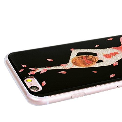 WE LOVE CASE iPhone 6 / 6s Hülle Glitzern Transparent Durchsichtig Schwarz iPhone 6 / 6s Hülle Silikon Weich Halbe Blume Handyhülle Tasche für Mädchen Elegant Backcover , Soft TPU Flexibel Case Handyc flower girl