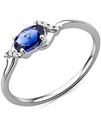 Miore Damen Ring 9 Karat 375 Gold Solitär Saphir Diamant Brillianten 0.03 ct Weißgold