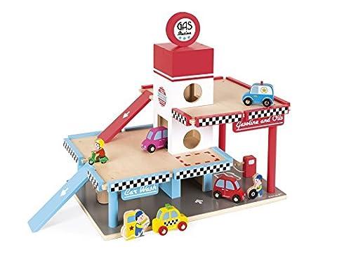 Janod J05718 - Garage, 8 teile Zubehör, tankstelle (holz) (Holzspielzeug Parkhaus)